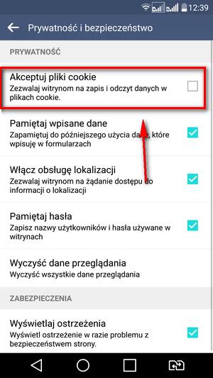 Wyłączanie cookies Android - odznacz Akceptuj pliki cookie