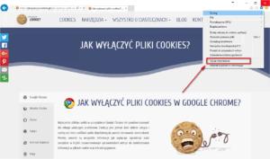 Wyłączanie cookies Internet Explorer- wybierz opcje internetowe
