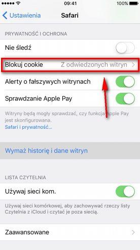 Wyłączanie cookies iPhone - wybierz Blokuj cookie