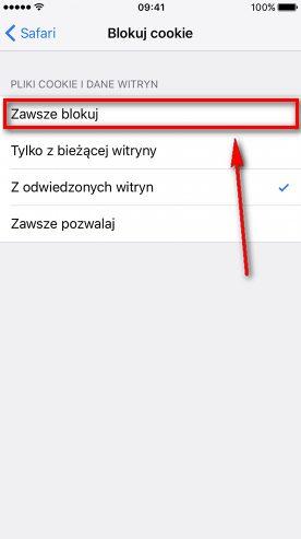 Wyłączanie cookies iPhone - zaznacz zawsze blokuj