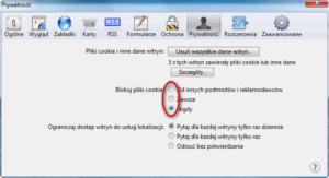 Wyłączanie cookies Safari - Zaznacz w Zawsze w pozycji Blokuj pliki cookie