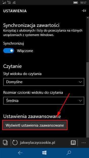 Wyłączanie cookies Windows 10 Mobile - wybierz Wyświetl ustawienia zaawansowane