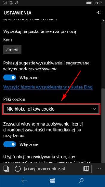 Wyłączanie cookies Windows 10 Mobile - wybierz Blokuj wszystkie pliki cookie